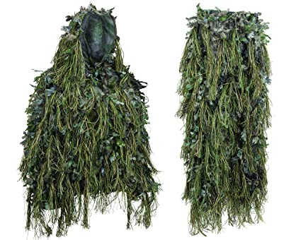 67dd450919cad North Mountain Gear Hybrid Woodland Camouflage Ghillie Hunting Suit Light  Weight (Woodland Green, MED