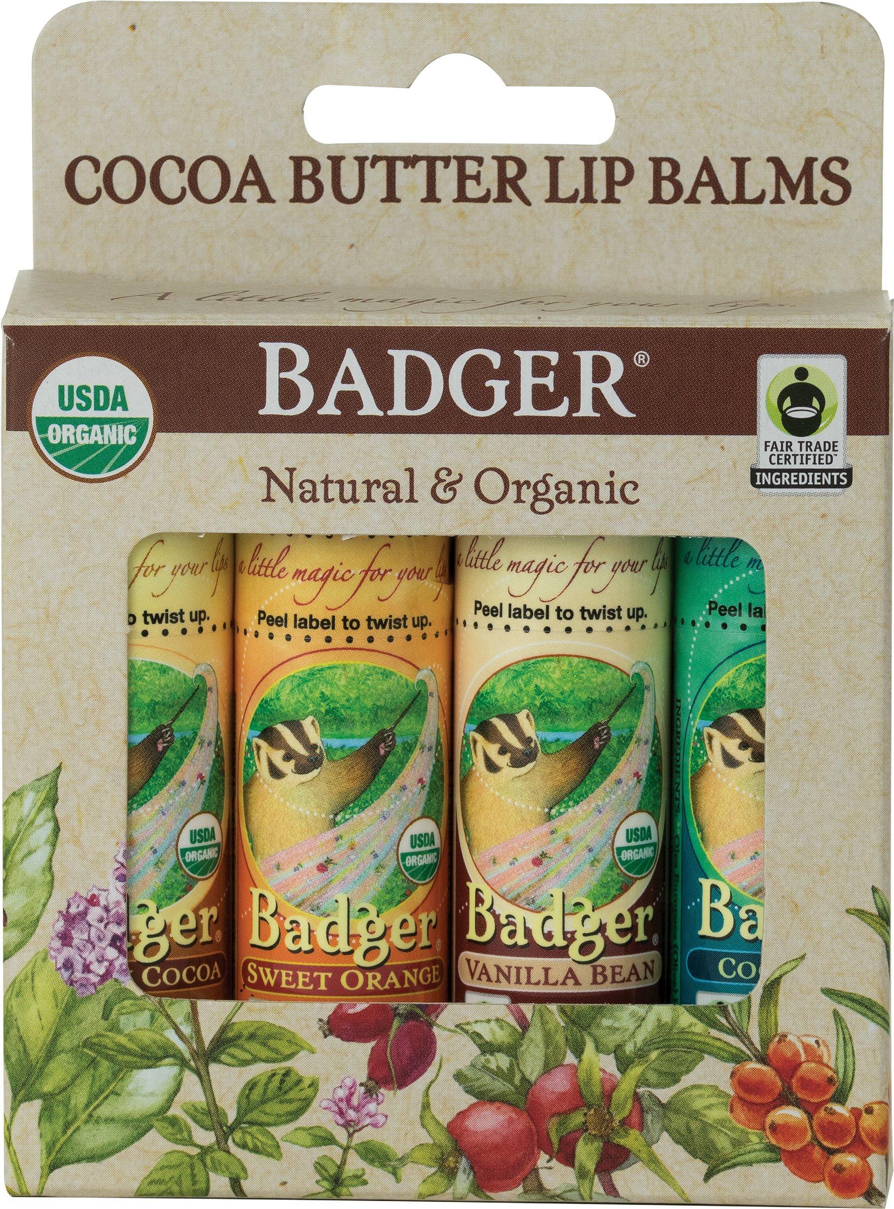 Badger Fair Trade Cocoa Butter Lip Balm - 4 Pack by Badger