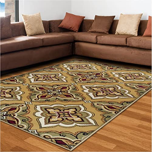 Superior Crawford Collection Area Rug, 8mm Pile Height with Jute Backing, Gorgeous Mediterranean Tile Pattern, Fashionable and Affordable Woven Rugs – 5 x 8 Rug, Gold