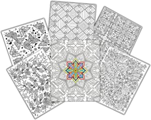 C-Line UColor Two Pocket Coloring Folders, Set of 6 Assorted Adult Patterns (15217)