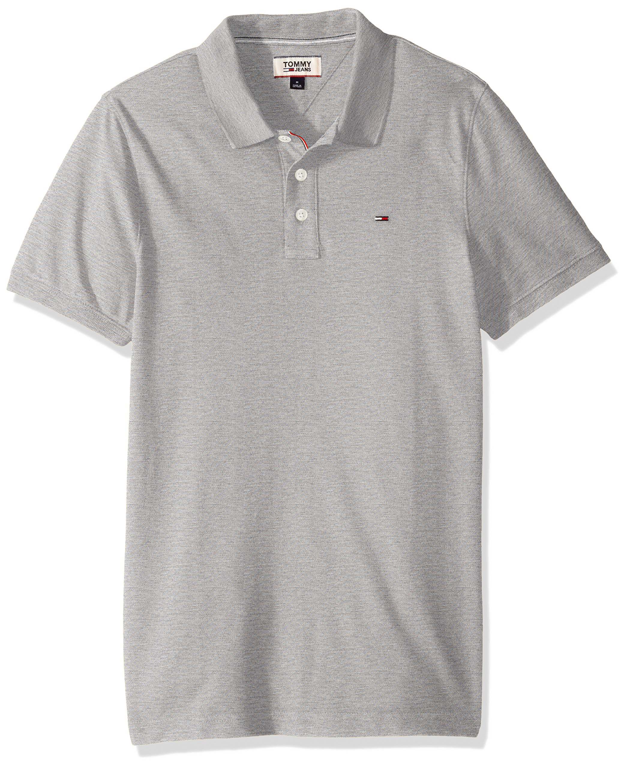 Tommy Jeans Basic Short Sleeved Polo Shirt (Light Grey Heather)