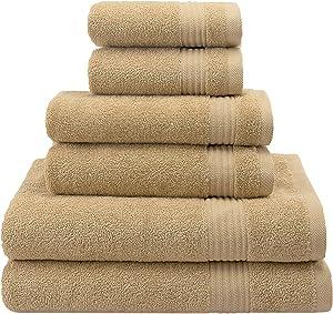 Hotel & Spa Quality, Absorbent & Soft Decorative Kitchen & Bathroom Sets, 100% Turkish Genuine Cotton 6 Piece Towel Set, Includes 2 Bath Towels, 2 Hand Towels, 2 Washcloths - Sand Taupe