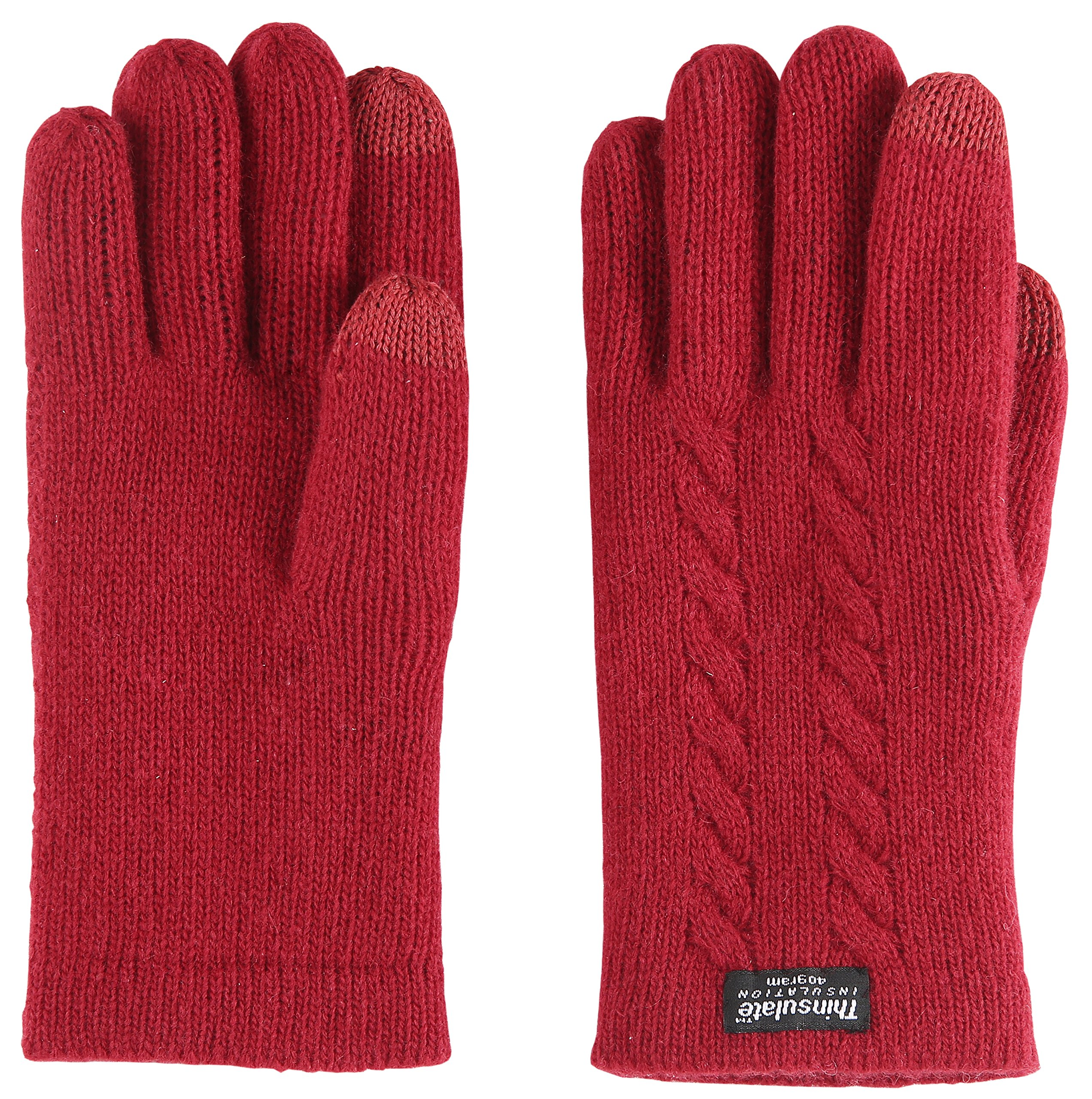 Bruceriver Ladie's Pure Wool Knit Gloves with Thinsulate Lining and Cable design Size S(Red Touchscreen) by BRUCERIVER