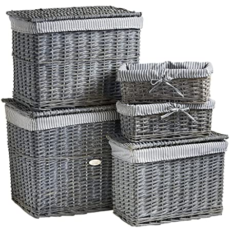 VonHaus 5 Piece Grey Wicker Storage Basket u0026 H&er Trunk Set with Washable Fabric Lining  sc 1 st  Amazon UK & VonHaus 5 Piece Grey Wicker Storage Basket u0026 Hamper Trunk Set with ...