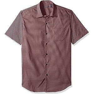 b9222ce21b80 Van Heusen Men s Short Sleeve No-Iron Mini Grid Button Up