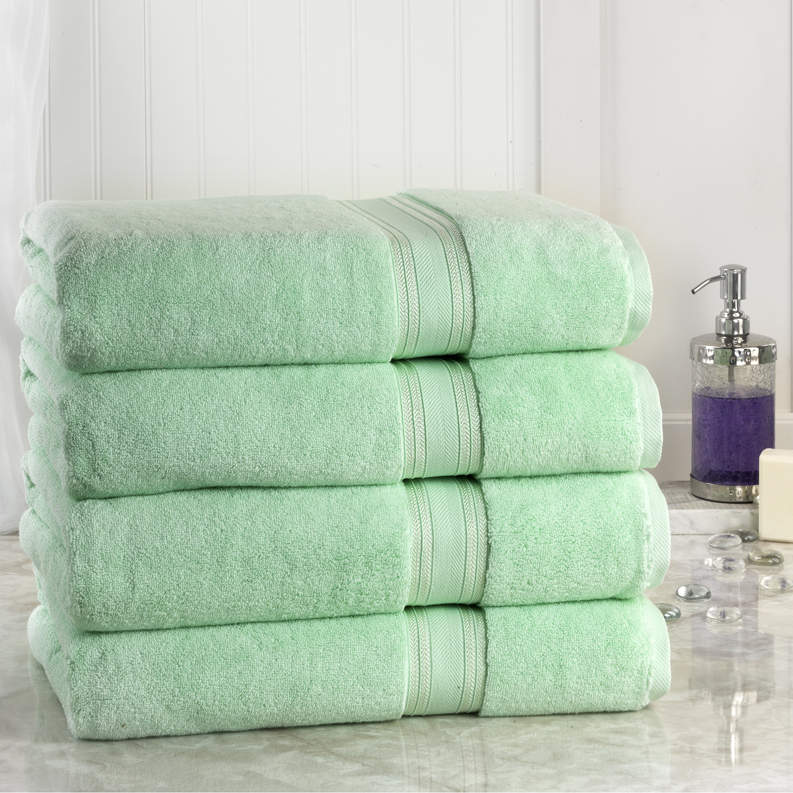 Lezeth Collection Super Absorb 100% Zero Twist Oversized Bath Sheets, Jade (Pack of 4)