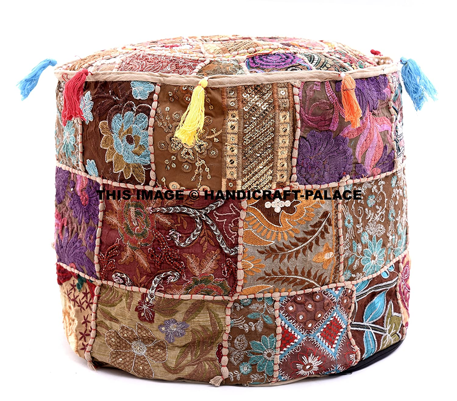 Indian Round Patchwork Embroidered Ottoman Pouf Ethnic Indian Decorative Cotton Pouffe,Designer Ottoman Pouf, Home Living Footstool Chair Cover, Bohemian Ottoman Pouf Handicraft-Palace POSS-8