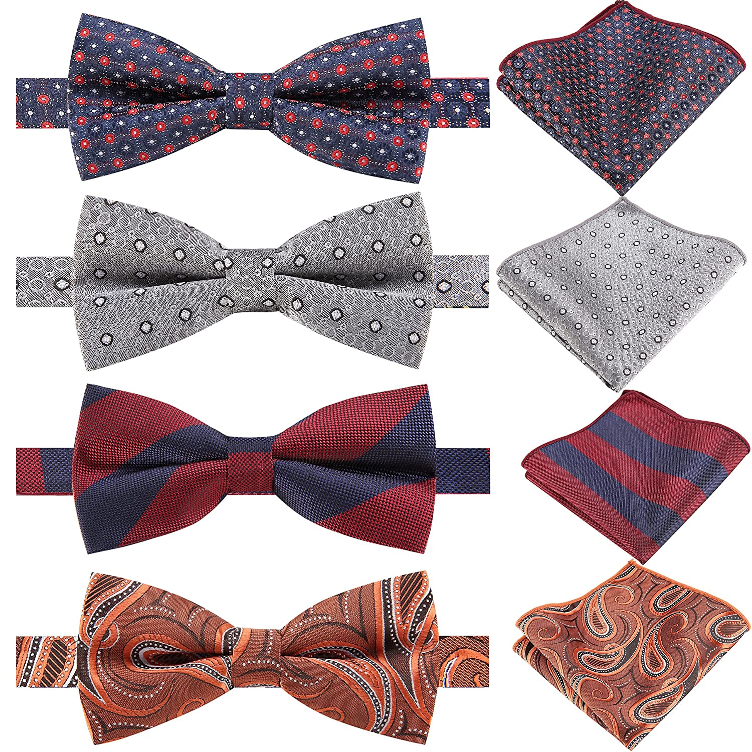 71e46b1d8257 This Set comes with pre-tied bow ties and pocket square in assorted colors  and patterns,it included grey bowtie,Wine (red) bow tie,Paisley bow tie,  etc, ...