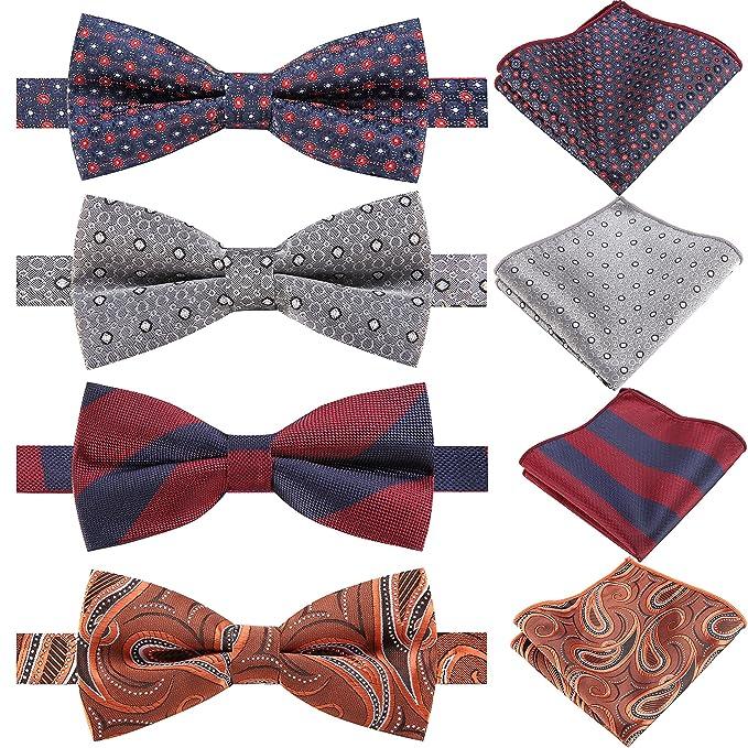 26fe191215c07 AUSKY 4 Packs Elegant Adjustable Pre-tied Bow Ties & Pocket Square set for  Men