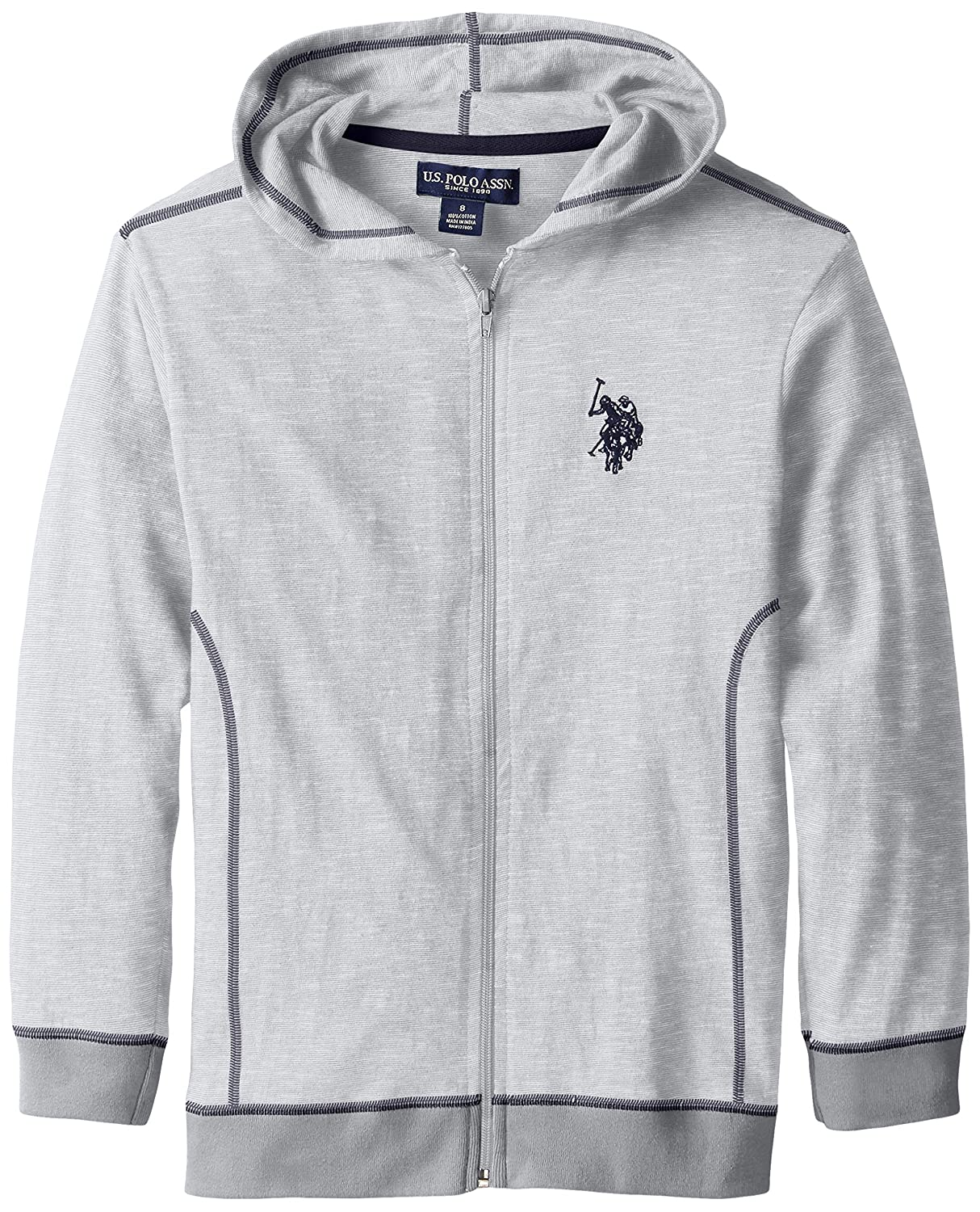 U.S. Polo Assn. Boys' Space Dyed Cotton Jersey Zip Up Hoodie