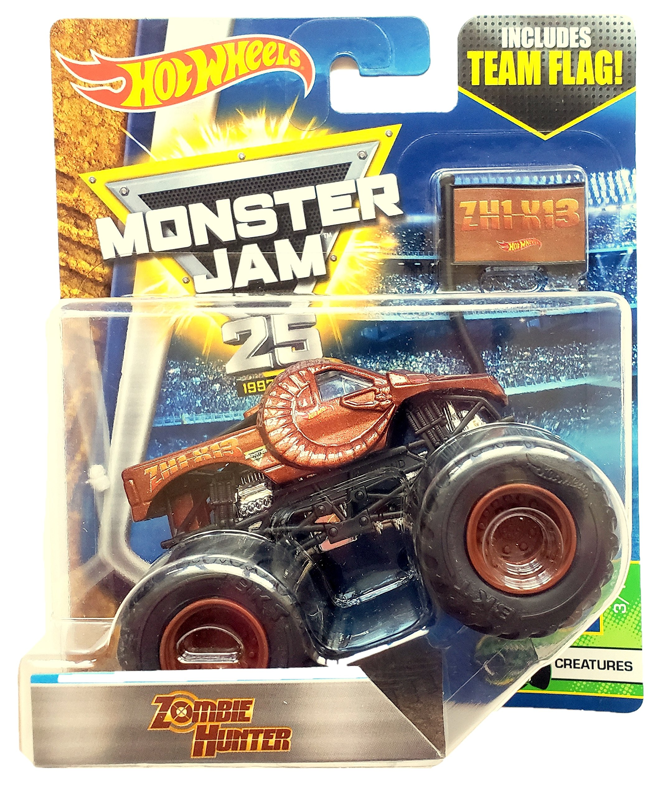 Hot Wheels Monster Jam Zombie Hunter con la bandera del equipo 2017