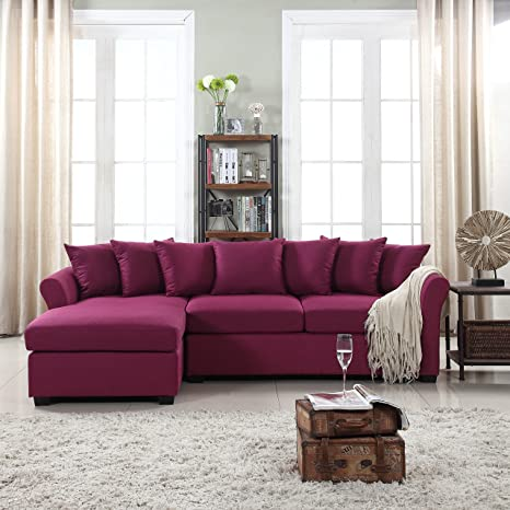 DIVANO ROMA FURNITURE Modern Large Linen Fabric Sectional Sofa, L-Shape  Couch with Extra Wide Chaise Lounge (Purple)
