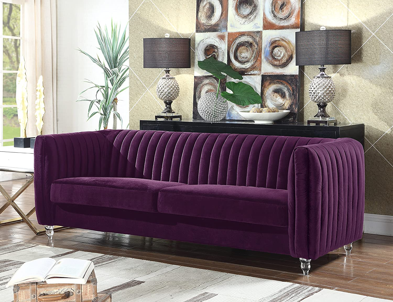 Amazon com iconic home kent elegant velvet modern contemporary plush cushion seat round acrylic feet sofa purple kitchen dining