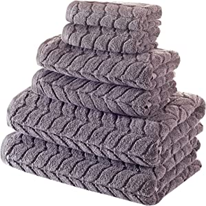 Bagno Milano Jacquard-Woven Towels – Ultra-Absorbent & Fast-Drying Spa Towels – Non-GMO Turkish Cotton Towels – Durable & Plush Luxury Towels – Eco-Friendly Towels – Soft Spa Towel Bundle- Grey 6 Pcs
