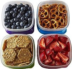 Fit & Fresh Stak Pak Control de Porciones 1-cup contenedor Set, 4sin BPA reutilizable contenedores de almacenamiento de alimentos y paquetes de hielo, saludable almuerzo y Snack para la escuela/trabajo
