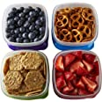 Fit & Fresh Stak Pak Portion Control 1-Cup Container Set, 4 BPA-Free Reusable Food Storage Containers and Ice Packs, Healthy