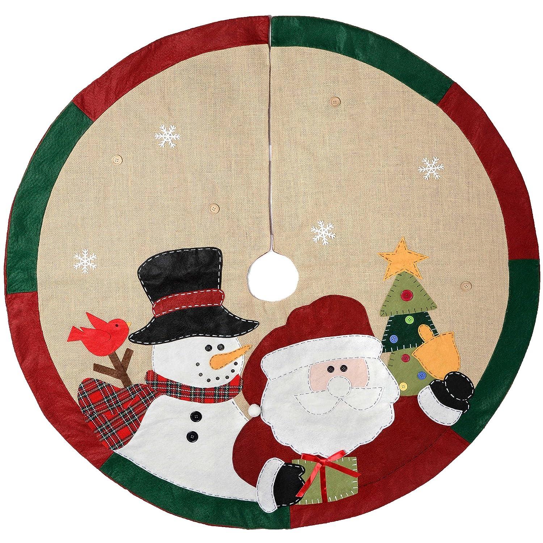 WeRChristmas-Babbo Natale Che saluta, 107 cm, Motivo Tradizionale-Copribase per Albero di Natale WRC-7509
