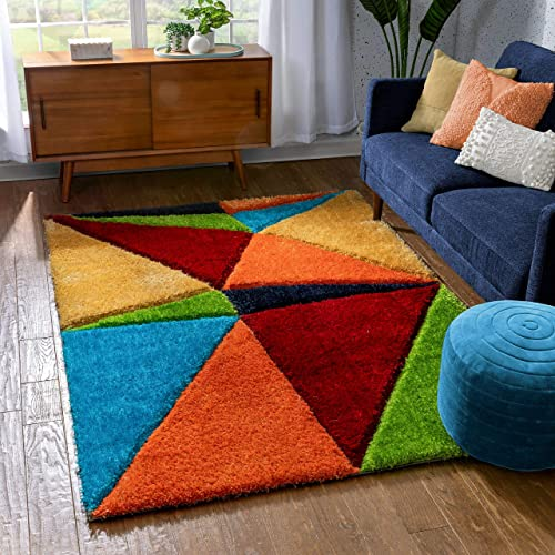 Well Woven Redondo Multi Triangle Boxes Thick Soft Plush 3D Textured Shag Area Rug 8×10 7'10″ x 9'10″
