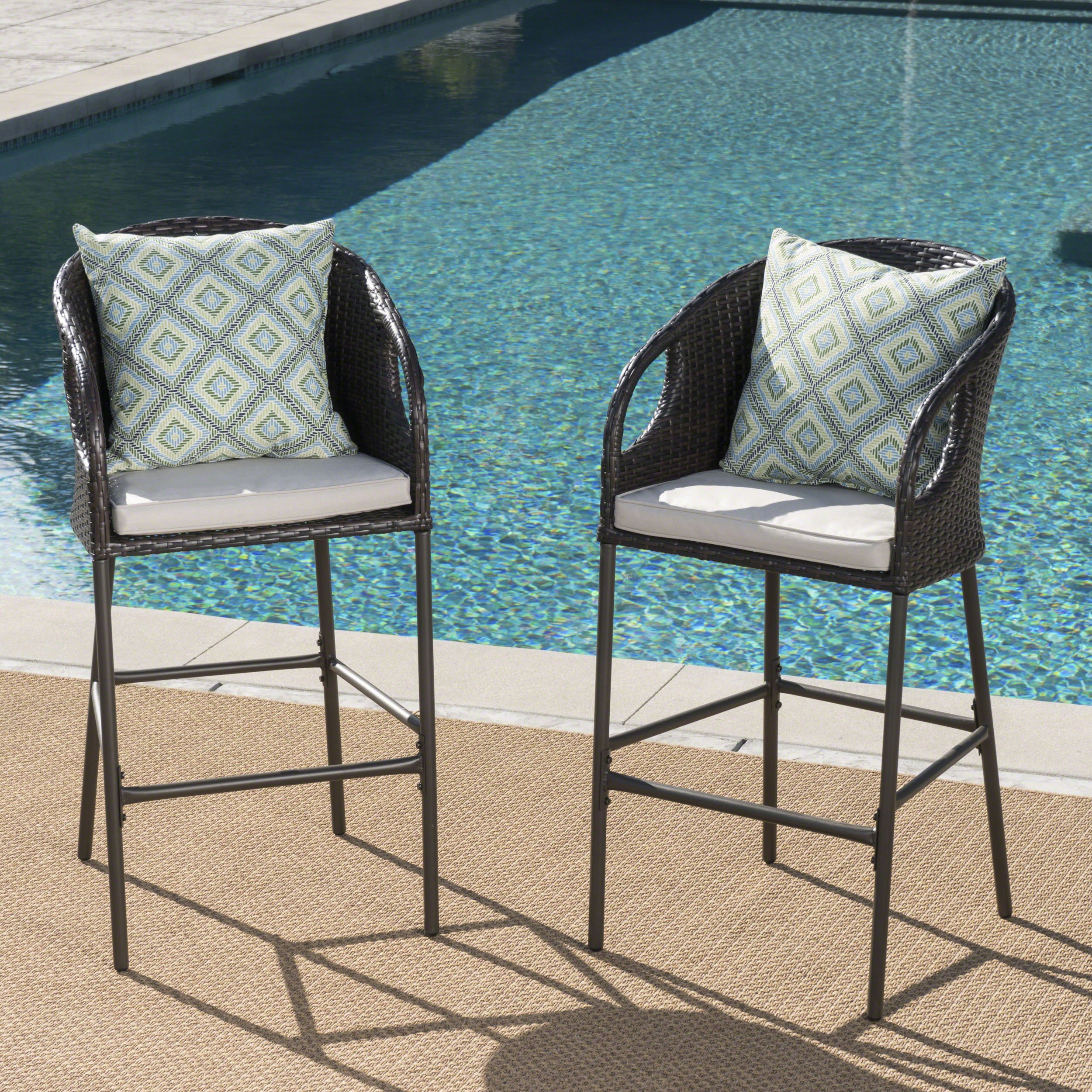 Dunlevy Outdoor Multibrown Wicker Barstools with Light Brown Water Resistant Cushions (Set of 2) by Great Deal Furniture