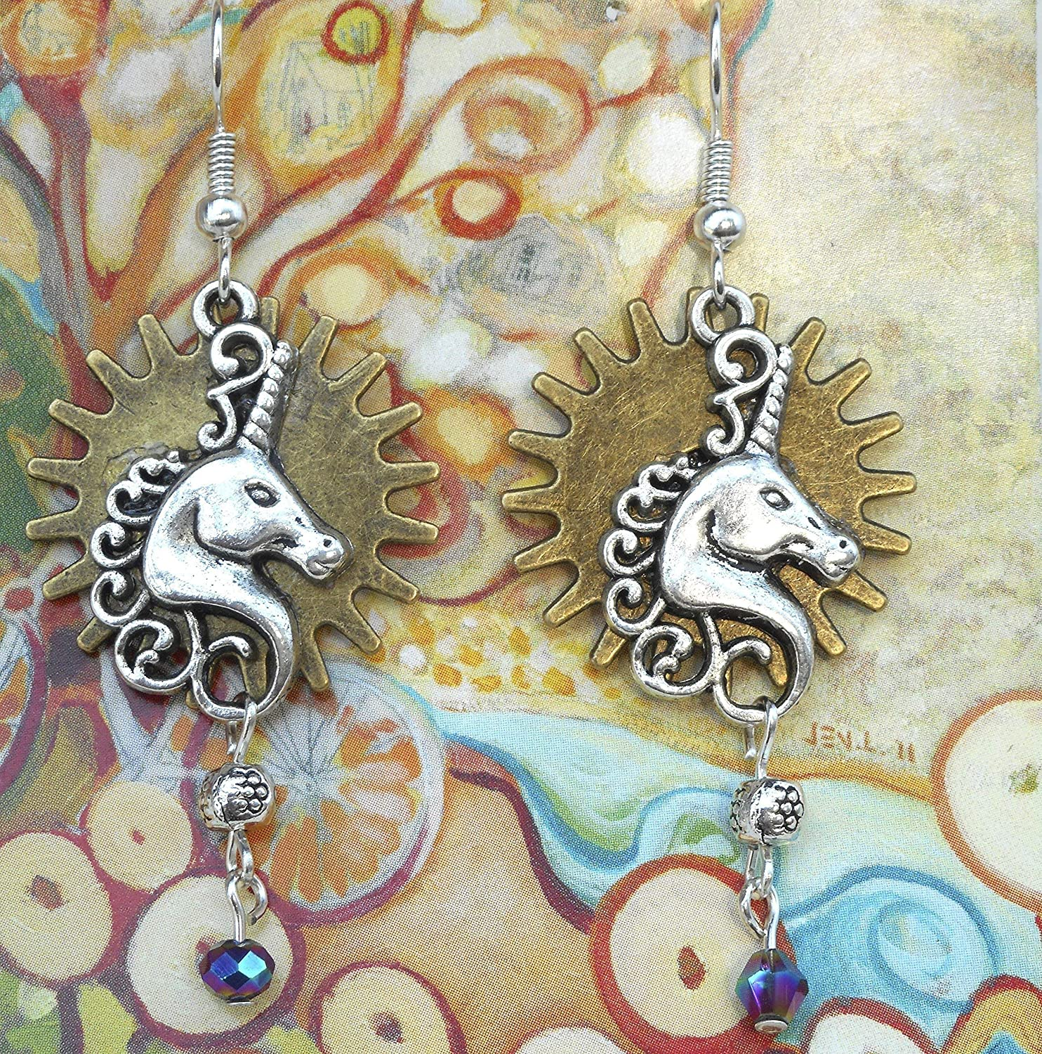 Earring Supply Donna Perlinplim Earring Shields a pair of hand made earrings pendants with ceramic decals Mythological Creature Unicorn