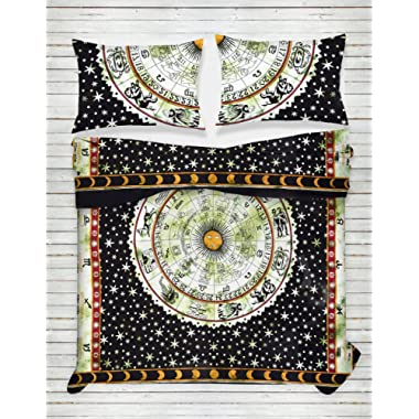 Third Eye Export Indian Medallion Duvet Coverlet Tapestry/Hippie Mandala Bohemian Cotton Bedding Comforter Set/Traditional Floral Print Quilt Blanket Bed Sheet/King-Queen Bedspread w/ 2 Pillow Covers