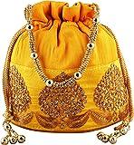 Bombay Haat Silk Ethnic Rajasthani Women's Yellow Potli Bag