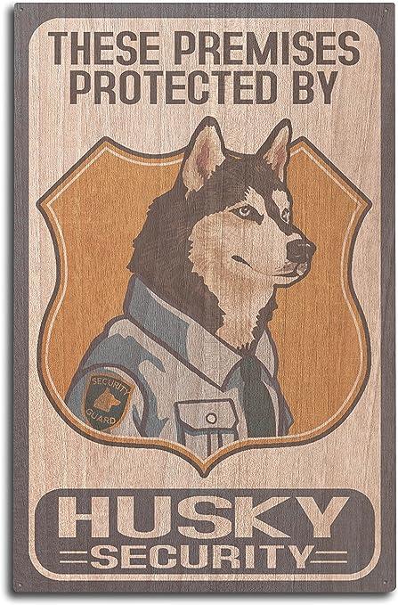 bathroom vanity tray decor.htm amazon com lantern press husky security dog sign  10x15 wood  amazon com lantern press husky