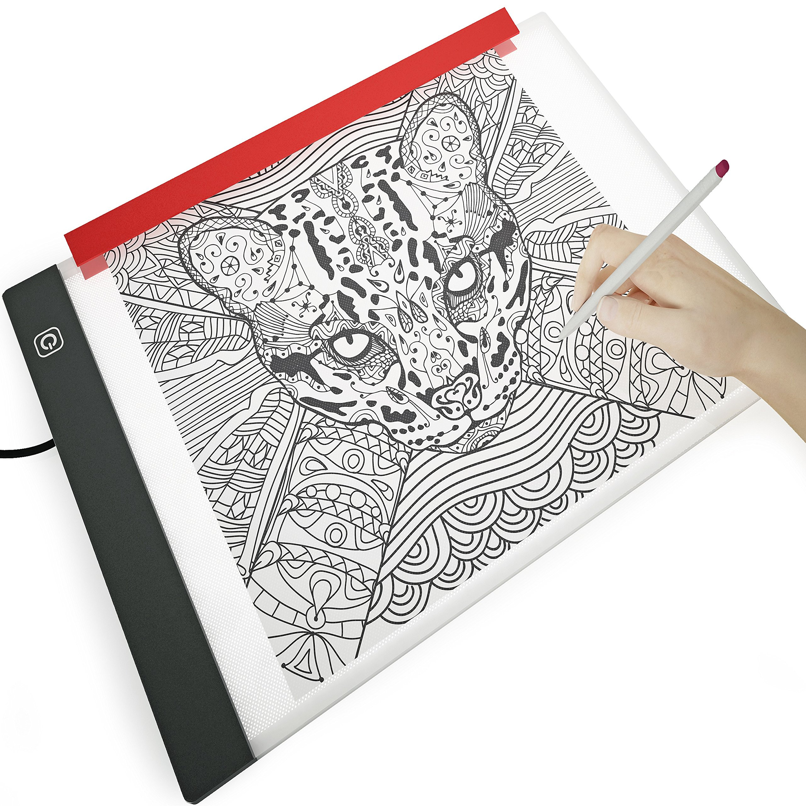 Illuminati Light Box For Drawing and Tracing ~ Comes With A4 Tracing Paper & Holder Clamp ~ Ultra Thin LED Light Pad With Hi-Mid-Low Brightness Control ~ Equipped With Filter To Prevent Eye Fatigue