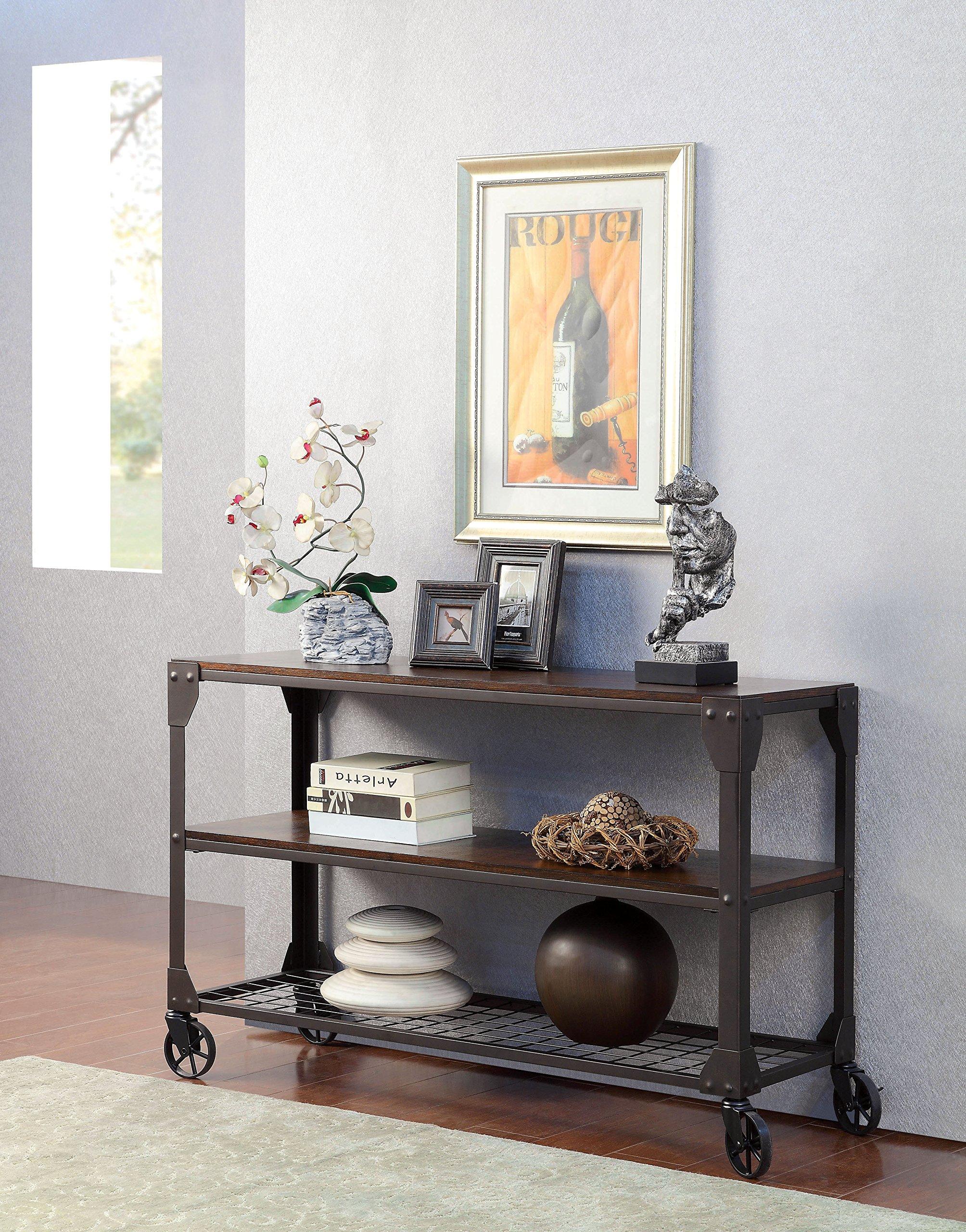 Furniture of America Kastas Industrial Sofa Table, Black by Furniture of America