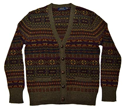 Polo Ralph Lauren Mens Fair Isle Cardigan Sweater Merino Wool ...
