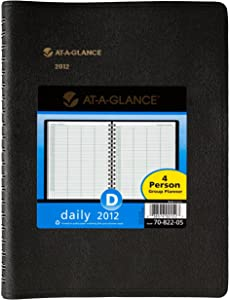 AT-A-GLANCE Recycled Four-Person Group Daily Appointment Book, 8 x 11 Inches, Black, 2012 (70-822-05)