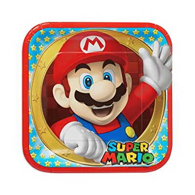 """Amscan 551554 Super Mario Brothers Square Plates Party Favor, 9"""": Toys & Games"""