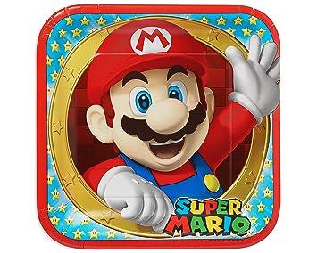 Super Mario Bros- Plato de Fiesta Cuadrados, 8 Unidades, 23 cm (Amscan 551554)