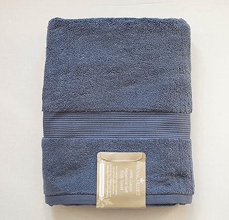 Luxury Royal Velvet Signature Soft Solid Bath Towel   30x54u201d  Night Shadow  Blue