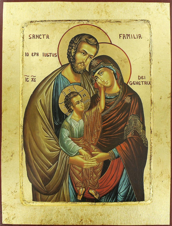 Icona Greca su legno con sfondo dorato cm 31 x 24 - Sacra Famiglia Ferrari