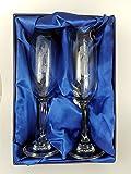 Par de novia y novio para copas de champán en caja de presentación con forro de seda Lujo