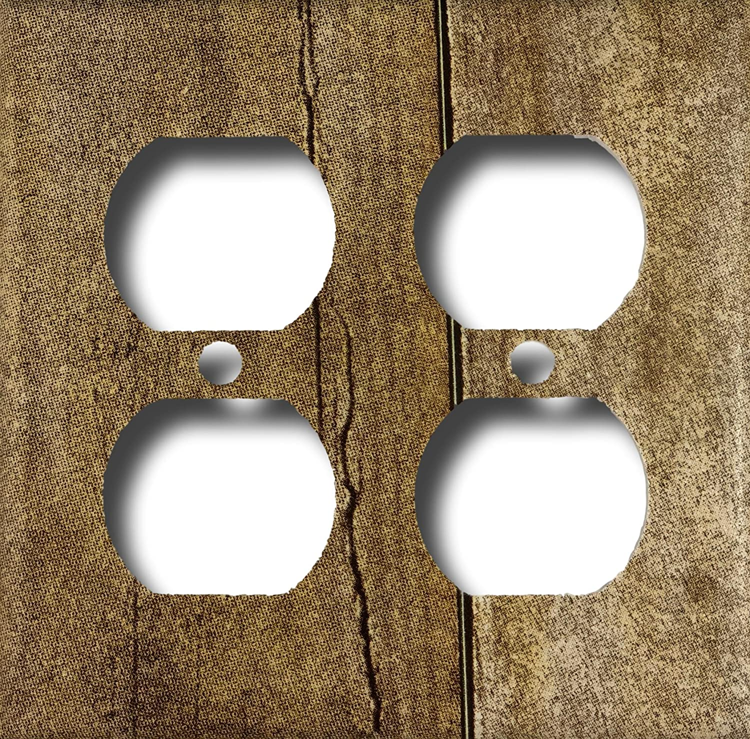 Barn Wood Design Double Outlet Quad Outlet Cover Wall Plate