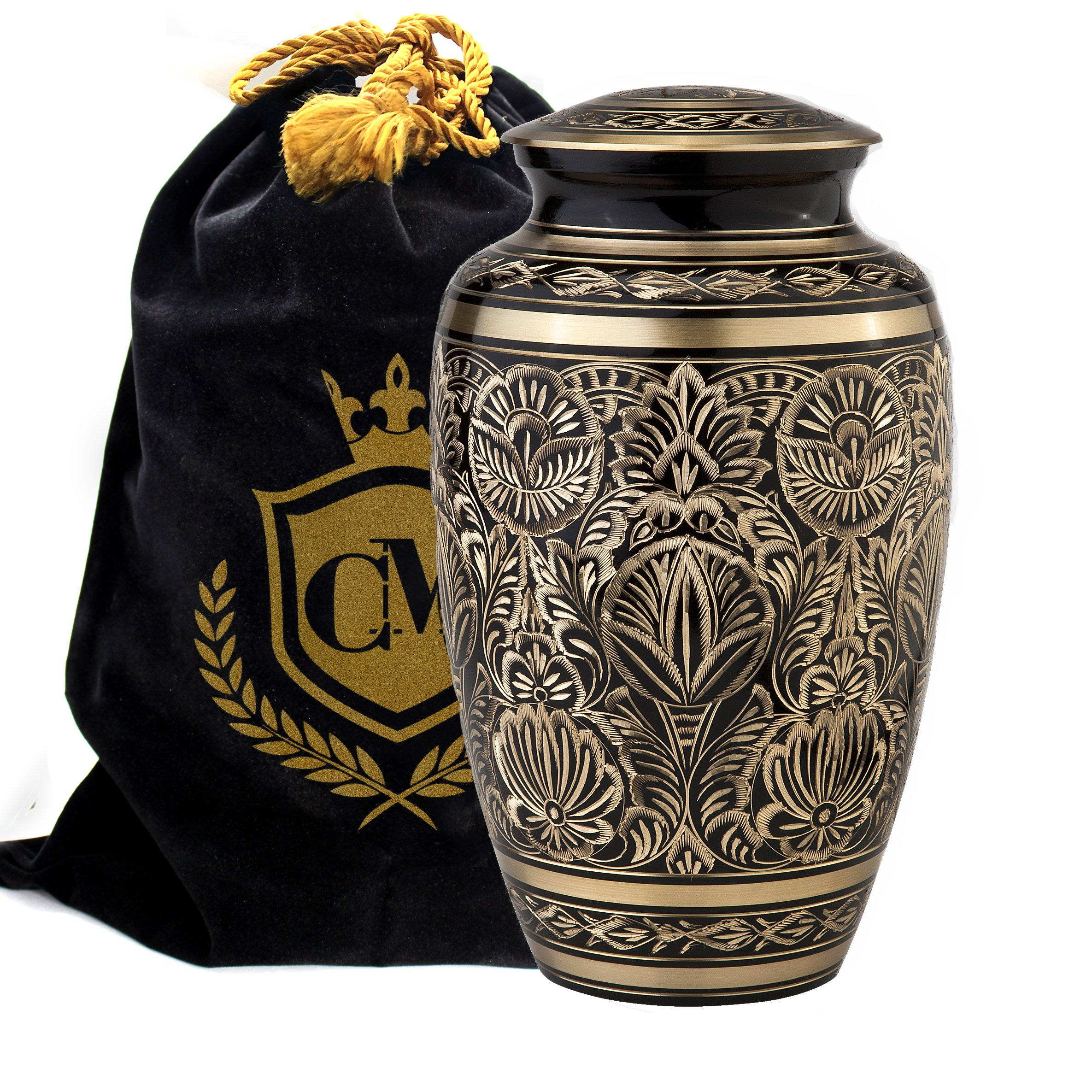 Majestic Radiance 100% Brass Cremation Urn for Human Ashes Large and Small (Large)… by Connolly Memorials (Image #1)