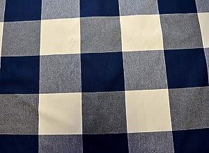 Call Me Navy Blue White Large Buffalo Check P Kaufmann Fabric