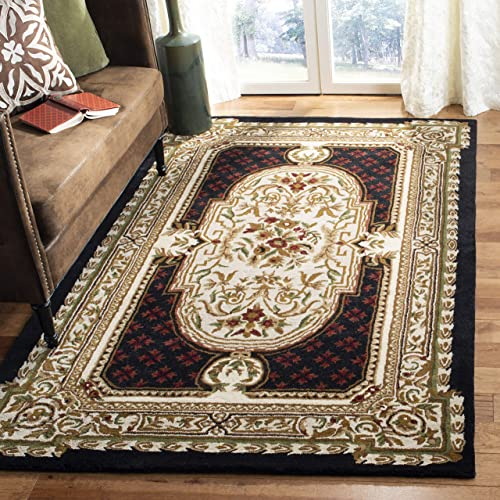 Safavieh Classic Collection CL755B Handmade Traditional Oriental Black Wool Area Rug 4 x 6
