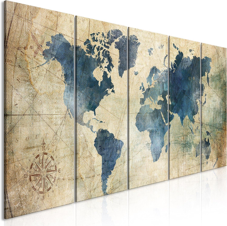 murando - Cuadro en Lienzo Mapa del Mundo 200x80 cm Impresión de 5 Piezas Material Tejido no Tejido Impresión Artística Imagen Gráfica Decoracion de Pared Rosa de los Vientos Tarjeta k-A-0415-b-m
