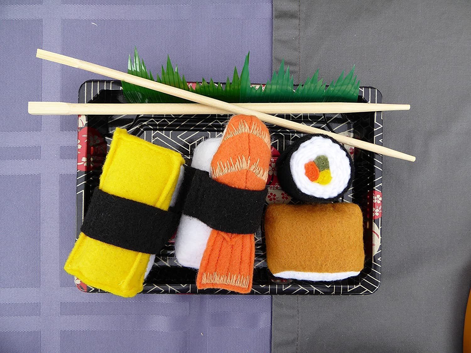 Felt Food Sushi Play Set 4 Piece Pretend Food Play Set, Unroll the Maki and re-roll, Take apart the Shrimp and Tamago, Inari