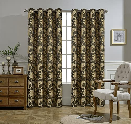 Verona Grommet Jacquard SMI Blackout Window Treatment Collection a Pair of 2 Panels 52 inch Width 84 inch Length Each Panel Brown