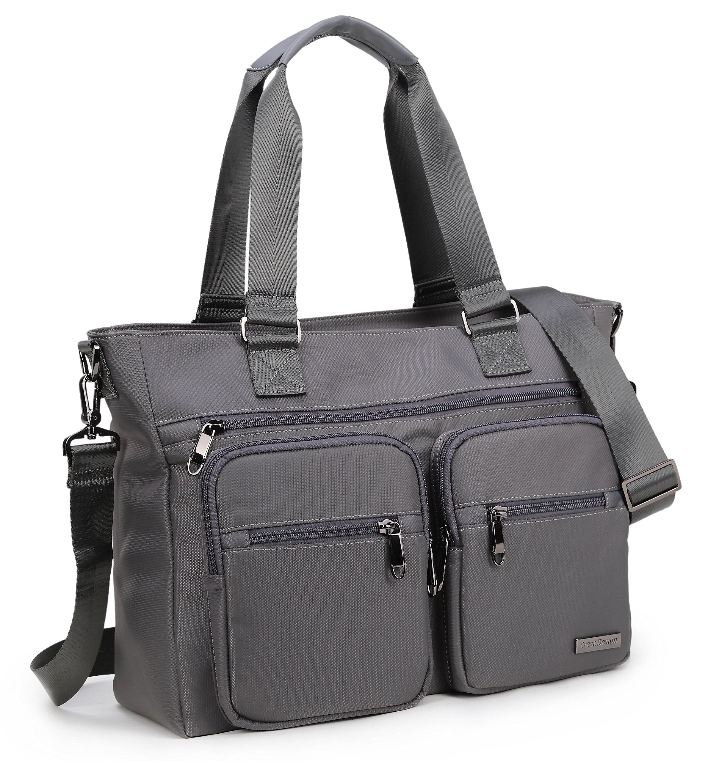 Crest Design Water Repellent Nylon Shoulder Bag Handbag Tablet Laptop Tote as Travel Work and School Bag. Perfect Nursing Tote to Carry Medical, Nursing Supplies (Charcoal)
