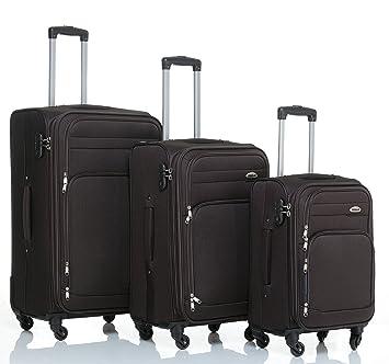 BEIBYE Maleta de viaje con 4 ruedas 8005 Set XL-L-M en 5 colores, marrón, medium: Amazon.es: Deportes y aire libre
