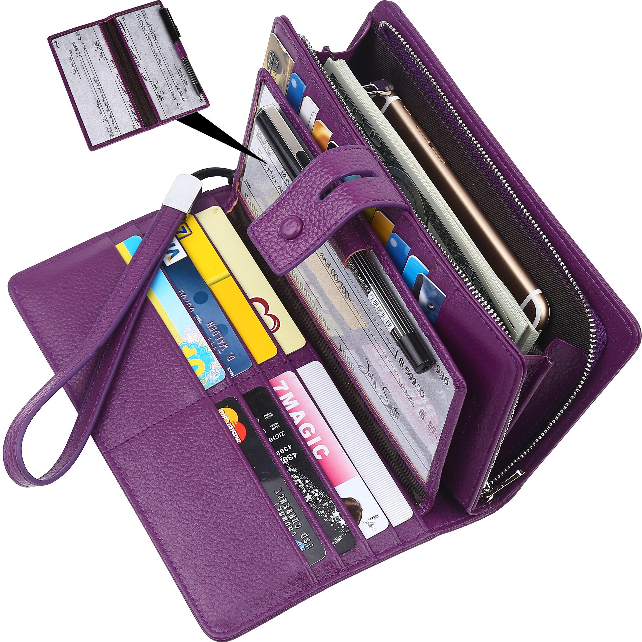 Wallet for women-RFID Blocking Real Leather checkbook wallet clutch organizer,checkbook holder(Purple)