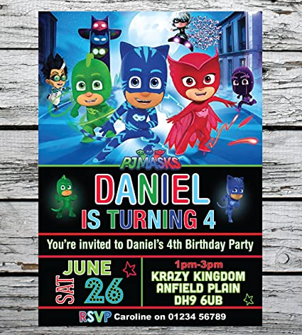 Personal Moments 10 PERSONALISED DISNEY PJ MASKS BIRTHDAY PARTY INVITATIONS INVITES ANY AGE ENV Amazoncouk Kitchen Home