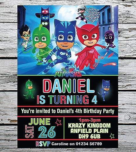 Personal Moments 10 PERSONALISED DISNEY PJ MASKS BIRTHDAY PARTY INVITATIONS INVITES ANY AGE ENV