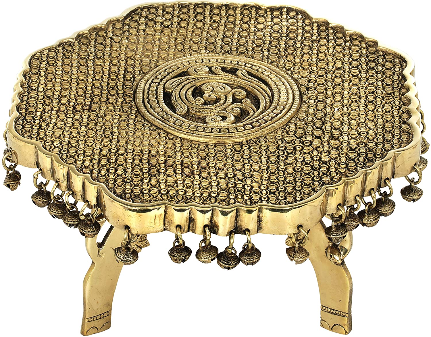 Amazon com: Exotic India Engraved Ritual Chowki with Ghungroos and