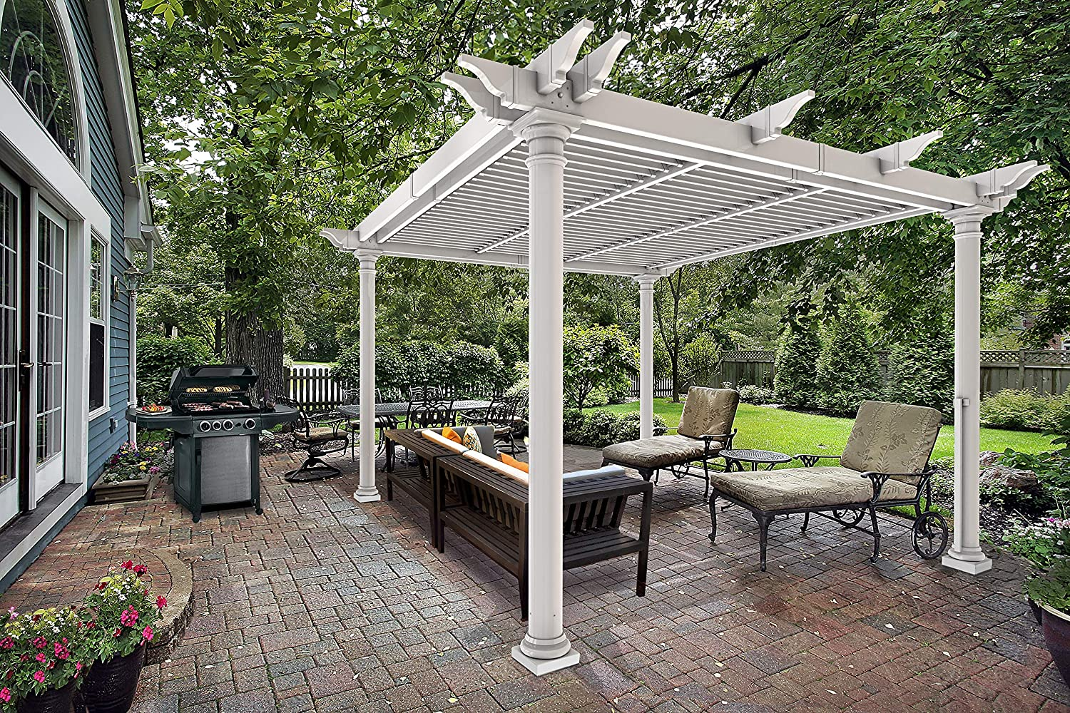 Nueva Inglaterra Preston Louvered Pergola, Blanco, 10 x 10: Amazon.es: Jardín